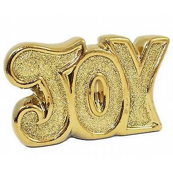 Ceramic Word 12Cm X7.5Cm Glitter Gold - Joy 4 Pack - (720805)
