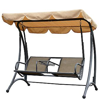 Outsunny Outdoor Swing Chair Two Seater Porch Hammock Bench Canopy Garden Deck Awning Double Seat Lounger Steel Center Cup Tray