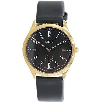 Aristo Bauhaus 1069 Men's Watch stainless steel 1H36 leather