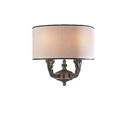 David Hunt VAL0963 Valerio Double Wall Light In Bronze With A Taupe Silk Shade