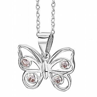 Jo For Girls Sterling Silver Pink CZ Butterfly Pendant Necklace 16
