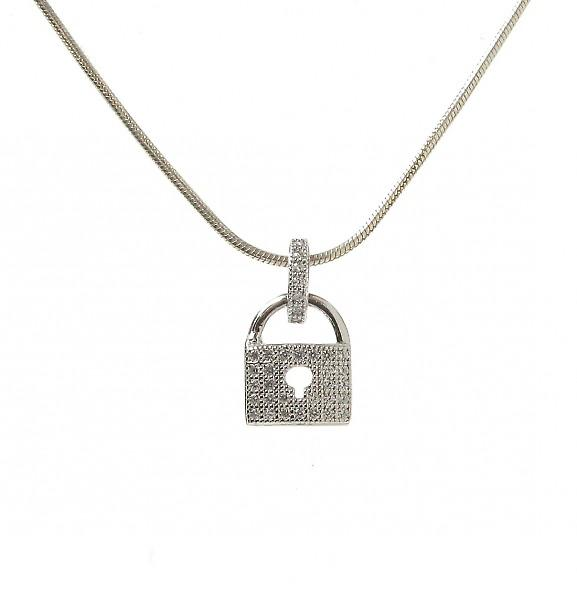 Cavendish French CZ and Sterling Silver Simple Padlock Pendant without Chain