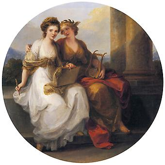 Allegory of Poetry and painting, Angelica Kauffmann, 50x50cm