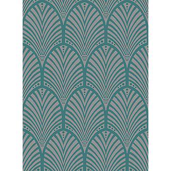 Arch Wallpaper retro ornamento Art Deco Teal metálico Sheen Gatsby Holden Decor