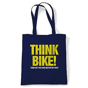 Tänk Bike Funny Tote | Motorcykel Scooter Street Cafe racer ryttare Sidecar | Återanvändbara shopping bomull canvas lång hanteras Natural Shopper miljö vänligt mode