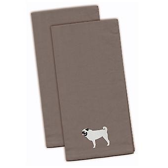 Каролинских сокровища BB3447GYTWE мопс серый Вышитые кухонные полотенца комплект из 2