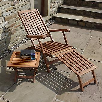 Steamer Sun Lounger Trueshopping Ambleside Hardwood + Folding Side Table