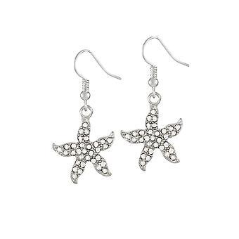 Evige samling søstjerner klar Crystal sølv Tone Drop gennemboret øreringe