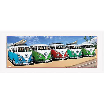 VW Camper Campers Beach Framed Collector Print 75x30cm