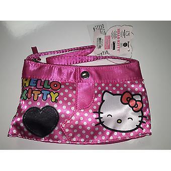 Hand Bag - Hello Kitty - Happy Face Black Heart Pink New 667440