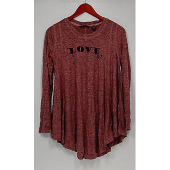 Qualquer mulher ' s sleepshirt escovado hacci mensagem Pink A292756
