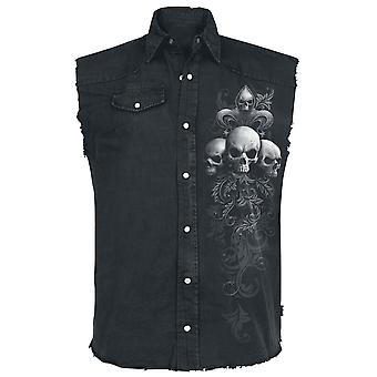 Spiral - skull scroll - men's stonewashed workers shirt