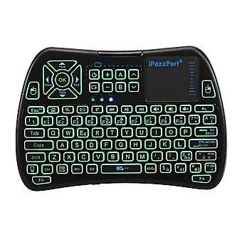 Ipazzport kp-810-61-rgb german three color backlit mini keyboard touchpad airmouse