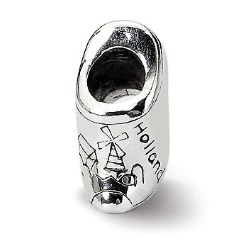925 Sterling Silver Polished Antique finish Reflections SimStars Holland Shoe Bead Charm