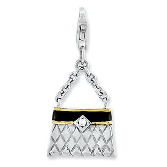 925 Sterling Silver Flash Gold-Flashed Fancy Lobster Closure Cubic Zirconia Rhodium-plaqué 3-d Enameled Purse With Lobst