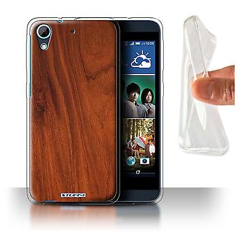 STUFF4 Gel/TPU Case/Cover for HTC Desire 626G+/Mahogany/Wood Grain Pattern