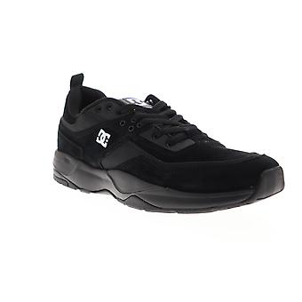 DC E Tribeka  Mens Black Suede Athletic Lace Up Skate Shoes