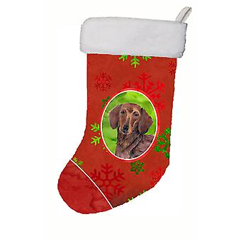 Dachshund Red and Green Snowflakes Holiday Christmas Christmas Stocking SC9408