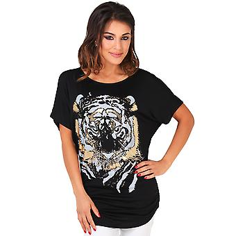 KRISP Womens ˜Tiger papier impression Top˜
