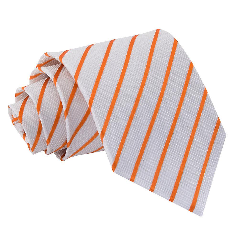 Single Stripe White & Orange Tie
