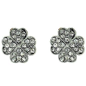 Silver and Crystal Quatrefoil Clover Stud Earrings