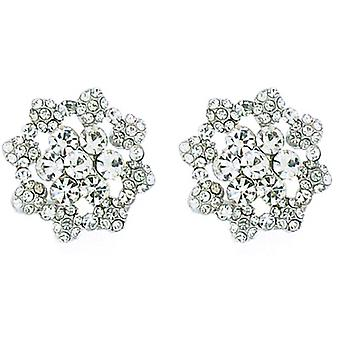 Clip On Earrings Store Large Crystal & Silver Flower Clip On Earrings