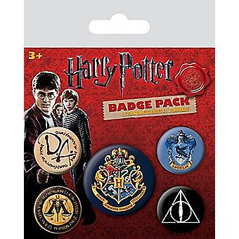 Harry Potter Hogwarts Crest 5 round Pin Badges in Pack (py)