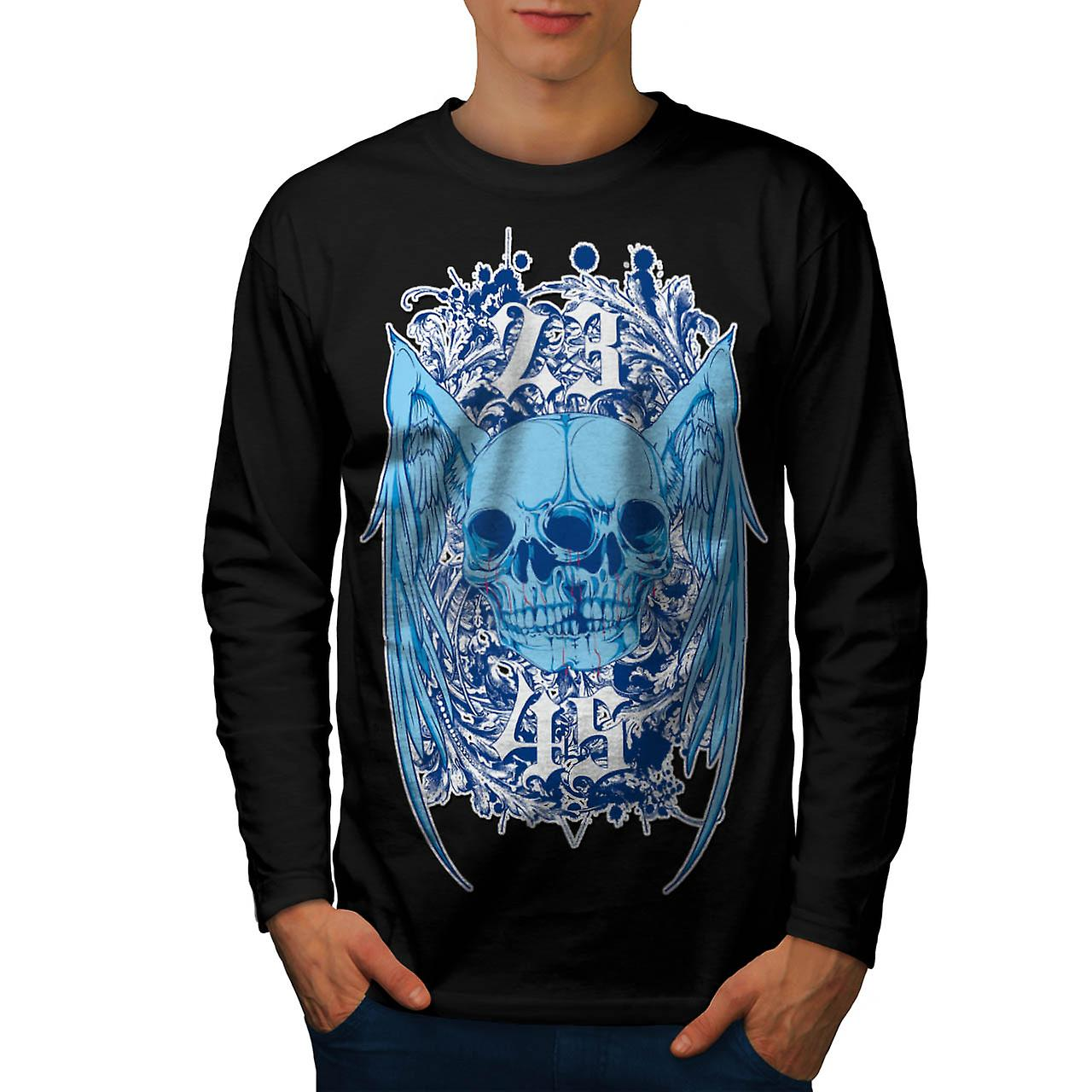 Double Skull Ghost Joint Monster Men Black Long Sleeve T-shirt | Wellcoda