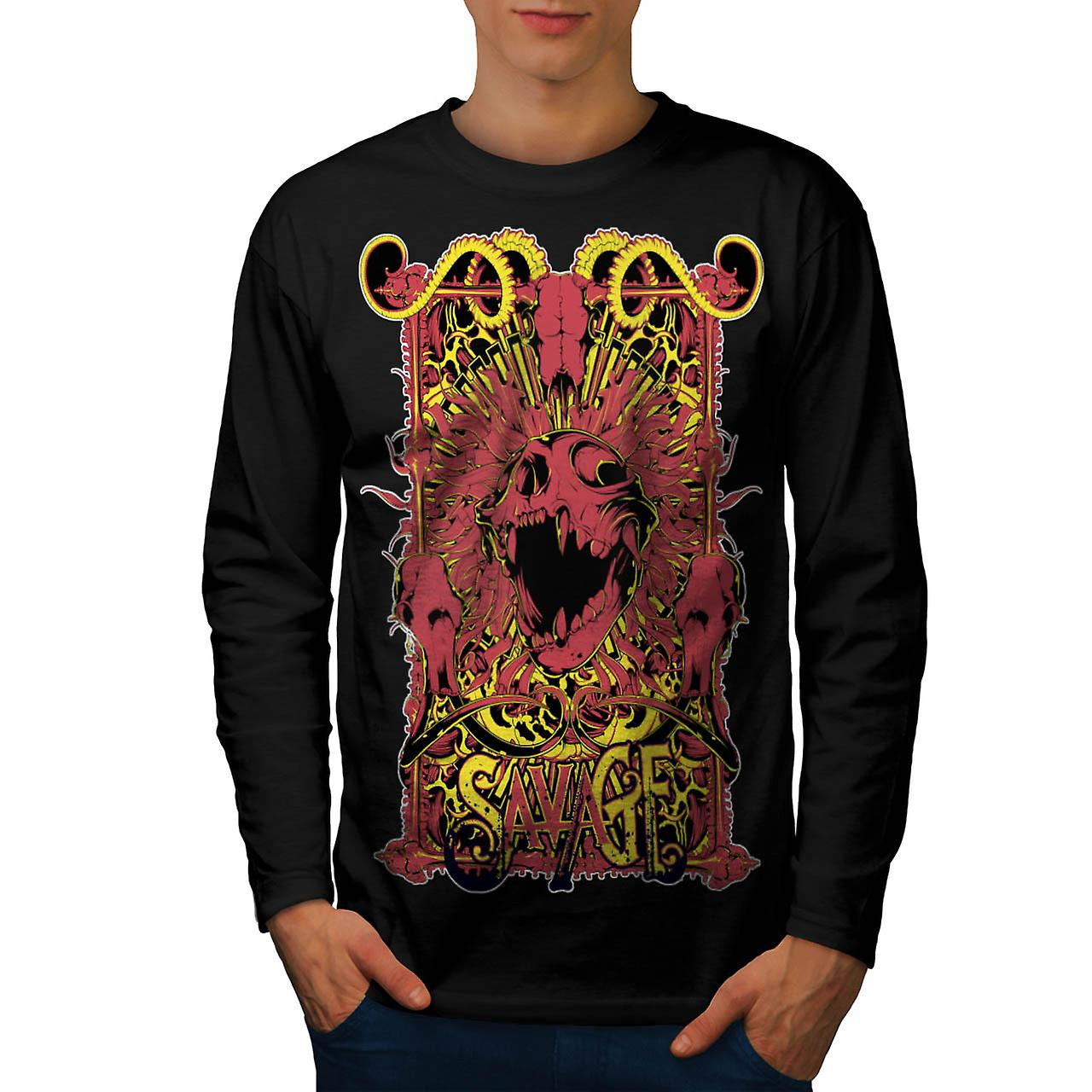 Savage Monster dood hel duivel mannen zwart lange mouw T-shirt | Wellcoda