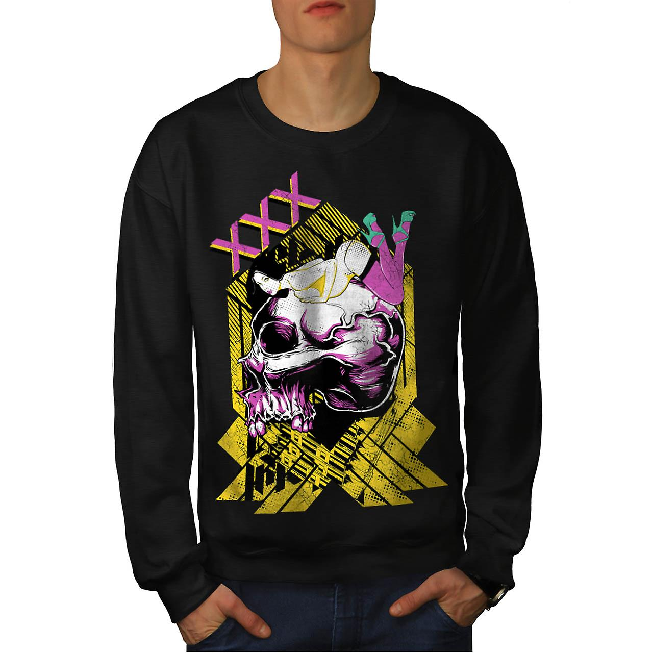 XXX Dead Seduction X Rated Skull Men Black Sweatshirt | Wellcoda