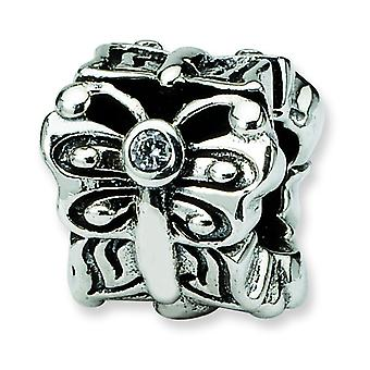 Sterling Silver Antique finish Reflections Butterfly With Cubic Zirconia Bali Bead Charm