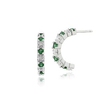 Gemondo 9ct vitguld 0.22ct Emerald & Diamond halv Hoop Örhängen