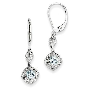 Sterling Silver Diamond and Aquamarine Lever Back Earrings - .010 dwt .46 cwt