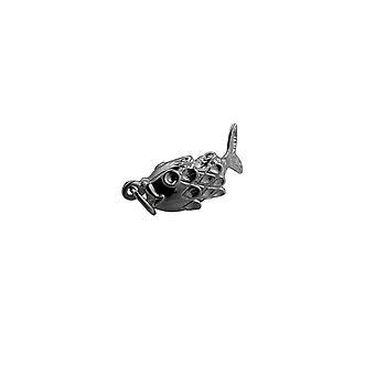Moveable 22x9mm argent pendentif poisson ou charme