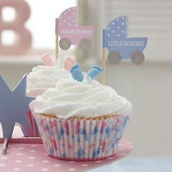 Tiny Feet Cupcake and Canape Flags - Baby Shower Party