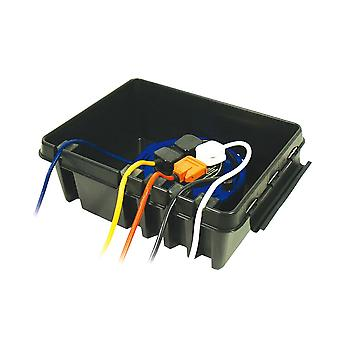 Large Weatherproof Plastic Dribox for 4 sockets ideal for outdoor Lighting Equipment, Black