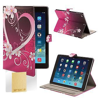 Designa boken vinkel utmärker foliofodral för Apple iPad Mini 4 (4th Gen) - kärlek hjärta