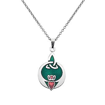 Fine Glass Enamelled Rhodium Plated Celtic Claddagh with Trinity Knot Chain Pendant