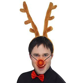 Олени Санта рождественские набор 3-х частей установить рога на оголовье светлый нос