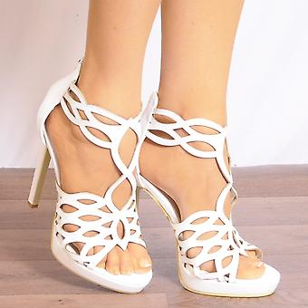 Koi Couture White Heels - Ladies Fd22 White Peep Toes Ankle Strap Stilettos Strappy Sandals High Heels