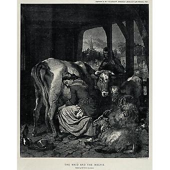 Edwin Landseer - A maid is milking a cow Poster Print Giclee