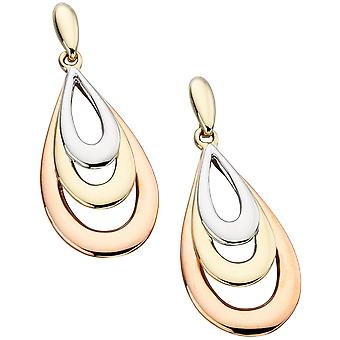 9Ct White Gold, Pink Gold And Gold Original Earring