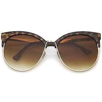 Oversize Horn Rimmed Cat Eye Sunglasses Round Flat Lens Half Frame 61mm