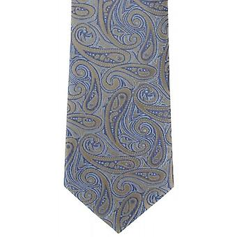 Michelsons of London Bold Paisley Silk Tie - Brown/Blue