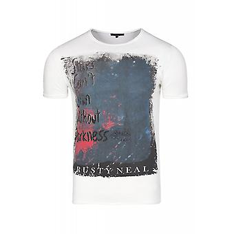 RUSTY NEAL fancy shirt men's White T-Shirt with front print