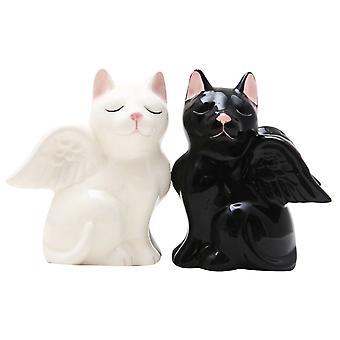 Sort og hvid engel Kity katte Salt og peber Shaker sæt