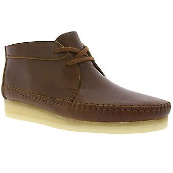 Clarks Weaver boot men's genuine leather moccasins Brown vintage-style
