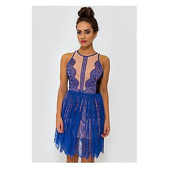 The Fashion Bible Luxe Blue Lace Sleeveless Dress