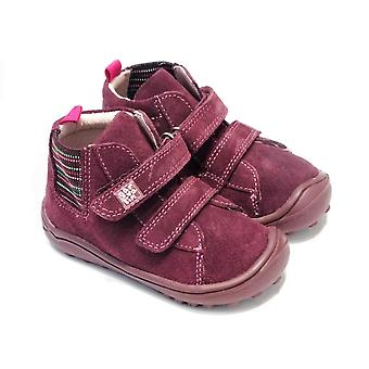 Garvalin Toddler Girls Purple Suede Ankle Boots With Flexible Sole