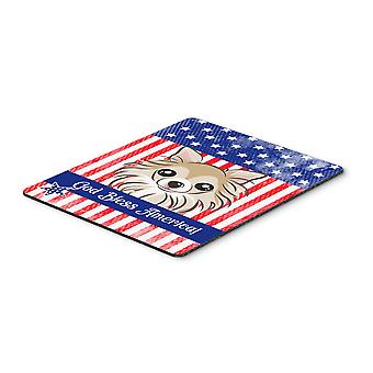 God Bless American Flag with Chihuahua Mouse Pad, Hot Pad or Trivet